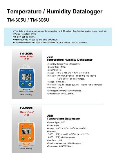 TM-305U-306UTemperature / Humidity Datalogger